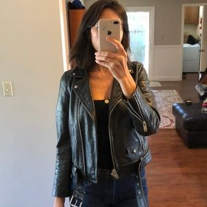 100% leather moto jacket